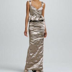 NICOLE MILLER PUPLUM RUCHED TECHNO DRESS $675 2